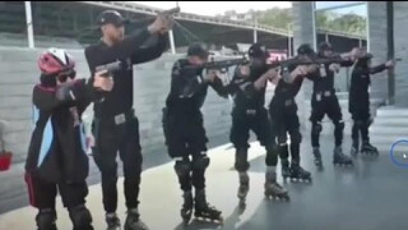 Roller Blade Police - More Ways To Shoot Guns From An Unstable Position - Gov Training At It's Bes..