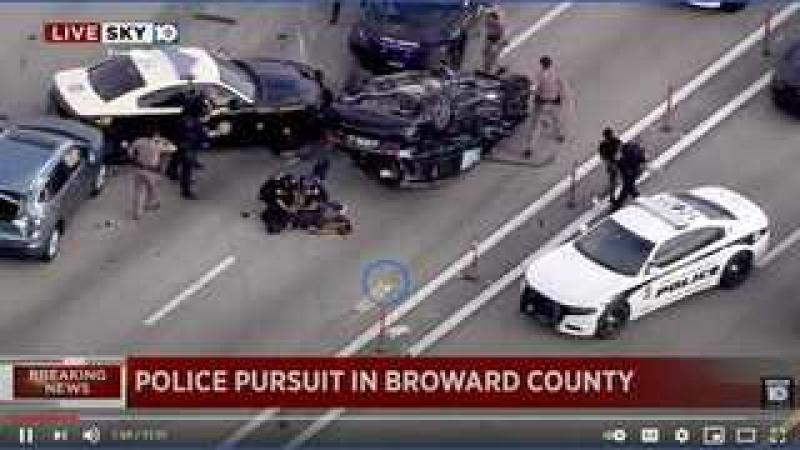 Suspects in Custody After Police Chase Ends in Rollover Crash on I-95 in Broward County